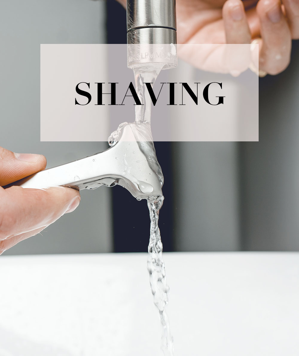bath and body shaving shop with razor