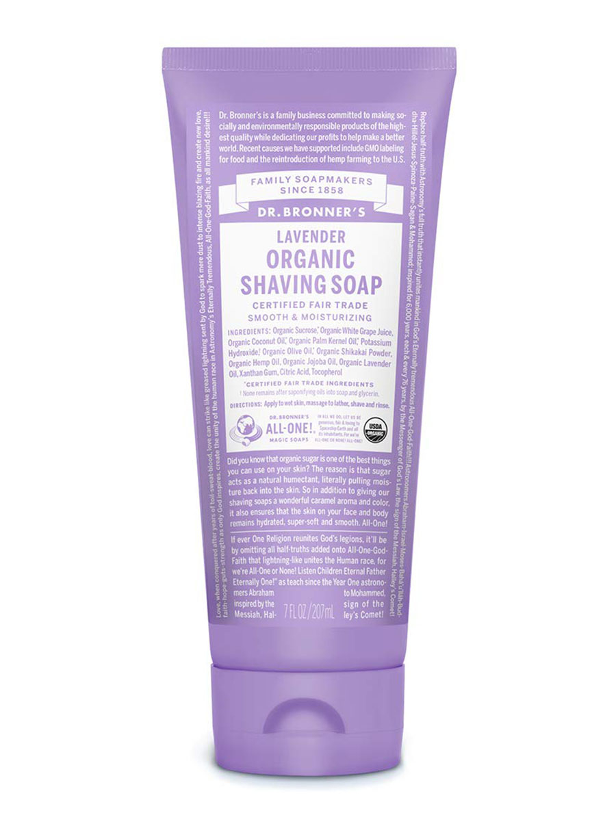 dr bronners organic shaving soap in lavender