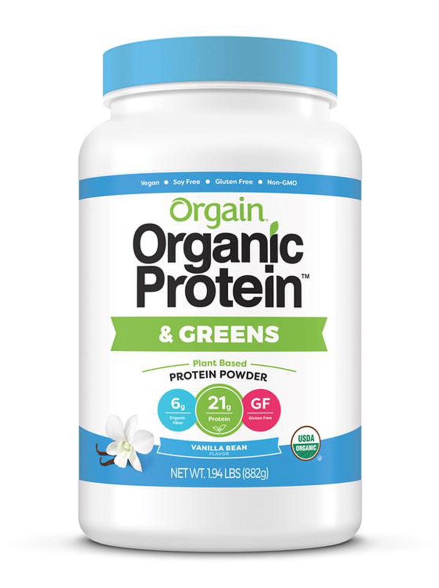 orgain organic plant based protein powder with greens